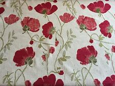 Red Poppy Floral Chenille Curtain Craft Upholstery Fabrics 2.95m