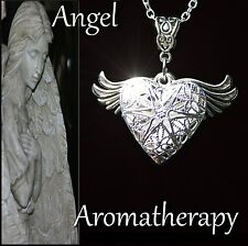 Essential Oil Diffuser Wing Heart Locket Necklace Aromatherapy U.S. Seller