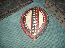 """Vintage African Massai Warrior Shield Painted Cow Hide Small Wall hanger 12""""X8"""""""