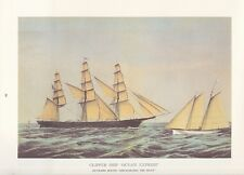 "1974 Vintage Currier & Ives CLIPPER SHIP ""OCEAN EXPRESS"" COLOR Lithograph"