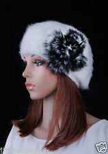 Beautiful Cute Real Fur Flowers Warm Winter Rabbit Fur Beret Hat Cap White M24