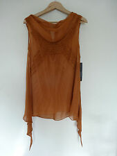 NWT Edun pintucked tan sheer silk blouse, size XS, $298 in stores