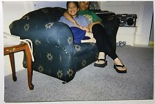 vintage PHOTO Asian brother and sister relaxing at home