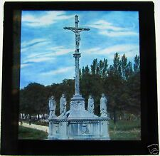 COLOUR Glass Magic lantern slide LOURDES CROSS C1900 FRANCE