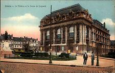 Calais France Color AK 1940 datiert Le Théâtre et la Statue de Jaquard Theater