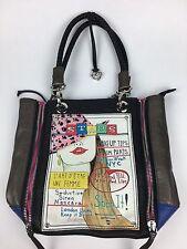Brighton fashionista stars leather cord handle zipper closure black handbag tote