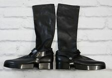 COMFY COOL: Robert Clergerie Black Stretch Leather Stirrup Boots New US8.5/UK5.5