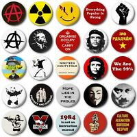 """ANARCHY & PUNK  (Various Designs) - 1"""" / 25mm Button Badge - Protest Revolution"""