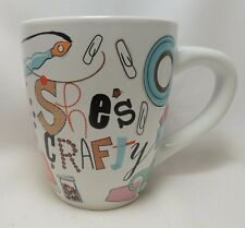 She's Crafty Coffee Cup Mug Large 25 Ounce Oversize Paint Cross Stitch Beads NEW