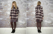 *MONSOON*Red/Ivory/Black Catarina Wool Blend Warm Check Coat Jacket sz10 to 12