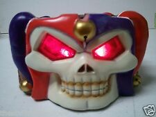 "JESTER SKULL with RED LED EYES Figurine / Ashtray 2.5"" H x 6"" L x 5"" W (240) NEW"