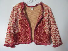Lucky Brand Rustic Red Fringed Tapestry Open Front Knit Bolero Cardigan NWOT S