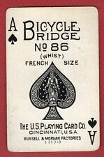 Single Swap Playing Card BICYCLE RIDGE WHIST 86 FRENCH SIZE ACE OF SPADE VINTAGE