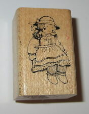 Doll Wearing Dress Hat Rubber Stamp Wood Mounted Toys Girls Delafield D335