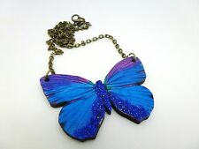 LARGE PURPLE & BLUE GLITTER WOODEN BUTTERFLY ANTIQUE BRONZE NECKLACE PENDANT