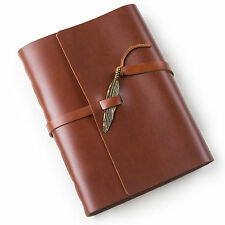 Ancicraft Leather Journal Diary Notebook with Feather A5 Lined Paper Red Brown
