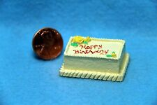 Dollhouse Miniature Happy Birthday Cake  Yellow with Roses ~ JJ1292