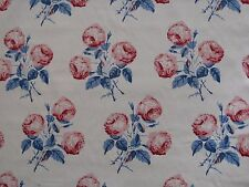 """COLEFAX AND FOWLER FABRIC DESIGN """"Bowood"""" 8.5 METRES RED AND BLUE 100% COTTON"""