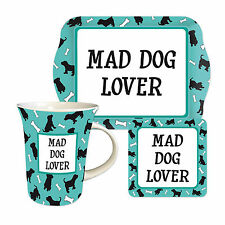 Mad Dog Lover Tea Time Gift Set- Dog Mug Biscuit Tray & Coaster- Boxed FREE P&P