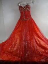 "STUNNING ""The Cool Collection"" Prom Formal Ball Gown Dress Fiery Red / Orange"