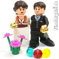 M611 Lego Custom Wedding Bride & Groom Custom Minifigures - Light Flesh NEW