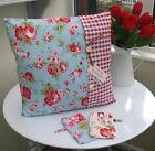 SHABBY CHIC CUSHION COVER CATH KIDSTON ROSALI COTTON FABRIC BLUE FLORAL VINTAGE