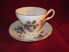 VINTAGE TEA CUP & SAUCER SET ENGLAND BONE CHINA ROYAL ASCOT PURPLE VIOLETS