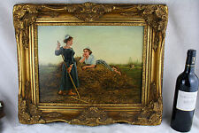 Gorgeous Flemish school Oil panel painting Girls  farm field hay signed 1950