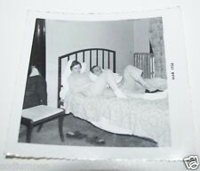WOW Vintage 1958 Black & White Couple in Bed Relaxing Photo Photograph Rare