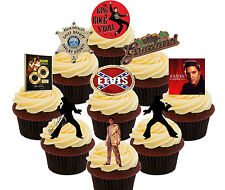 Elvis Party Pack, 36 Edible Cup Cake Toppers, Fairy Bun Decorations Birthday Men