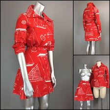 Vtg 70s Red Cotton Blueprint Nautical Blouse Mini Skirt Set Novelty Print dress