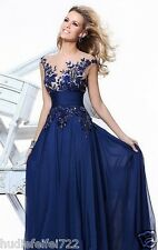 2017 Long Blue Applique Evening Formal Prom Party Cocktail Dresses Wedding Gown+