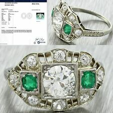 1920s Antique Art Deco 14k Gold 1.06ct Diamond Emerald Engagement Ring EGL $8280