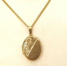 Superb Quality Ladies Very Heavy Vintage 9ct Gold Oval Locket On Heavy 9ct Chain