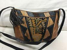 SHARIF Vintage crossbody shoulder hobo bag patchwork tassel leather