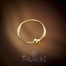 Gold Plated Nose Ring, Indian Sterling Silver Plain Tribal Nose Ring (code 2)