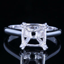 Solid 10K White Gold 9mm Cushion Cut Engagement Wedding Solitaire Classical Ring