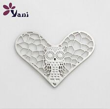 New 28mm Owl silver Heart for glass Living Memory Locket Floating charm