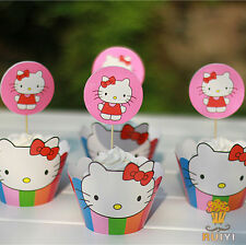 24pcs Hello Kitty 12 Wrappers +12 Cupcake Cake Toppers Kids Birthday Party Decor