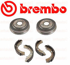 Set of 2 Brembo Rear Brake Drums & Aftermarket Rear Brake Shoes Honda Civic NEW