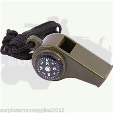 MILITARY 3 IN 1 SURVIVAL WHISTLE COMPASS TEMPERATURE ARMY HIKING CADET CAMPING