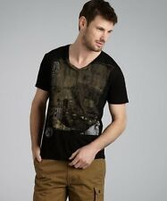 "DRIFTER Black Graphic Print Ombre Cotton T-Shirt MSRP: $55.00 ""Large"""