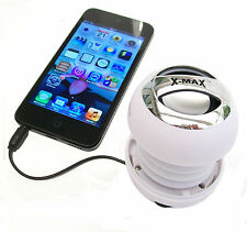 X-MaX BaSS (W) Mini Speaker for iPad * iPhone * iPod * Mob Phone-White & Chrome