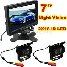 Kit 7″ LCD Moniteur + 2X IR 18 LED Inverser Rearview Caméra Recul Camion Remorqu