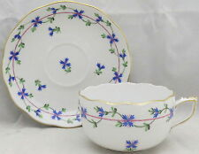 Herend Blue Garland (Pbg) Flat Cup and Saucer Set