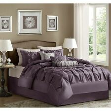 7-Piece Comforter Set Elegant Tufted Contemporary Bedding Queen Size Bed Purple