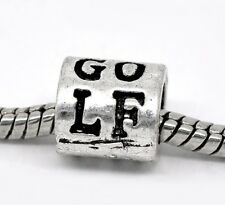 """Golf"" Golfer Sports Ring Bead Gift for All Brands European Style Charm Bracelet"