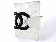 CHANEL CC Cambon Agenda PM 6 Ring Day Planner Cover Lambskin White Black A-4273
