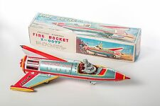 1962 Yonezawa Fire Rocket x-0077 Spaceship SPACE TOY VINTAGE TIN lito Friction