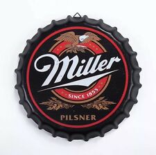 Miller Beer Round Bottle Cap Tin Sign Bar pub home Wall Decor Metal art Poster